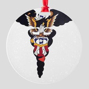Navy Caduceus Eagle Round Ornament