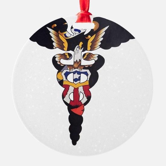 Navy Caduceus Eagle Ornament