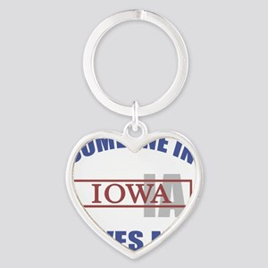 Someone In Iowa Loves Me Heart Keychain