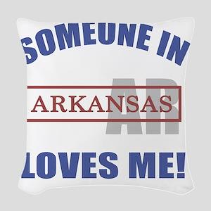 Someone In Arkansas Loves Me Woven Throw Pillow