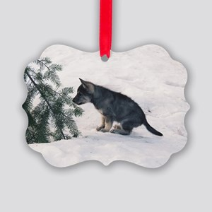"""Wolf  Dog  Cub"" Picture Ornament"