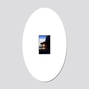 PtP Santa Monica Pier sunset 20x12 Oval Wall Decal
