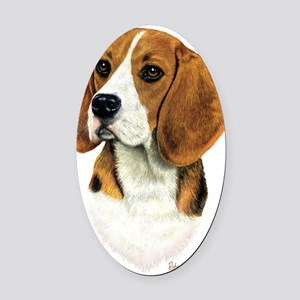 Beagle Head 1 Oval Car Magnet