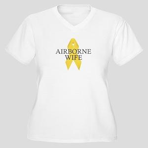 Airborne Wife Ribbon Women's Plus Size V-Neck T-Sh