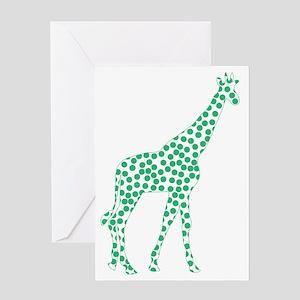 Kelly Green Polka Dot Giraffe Greeting Card