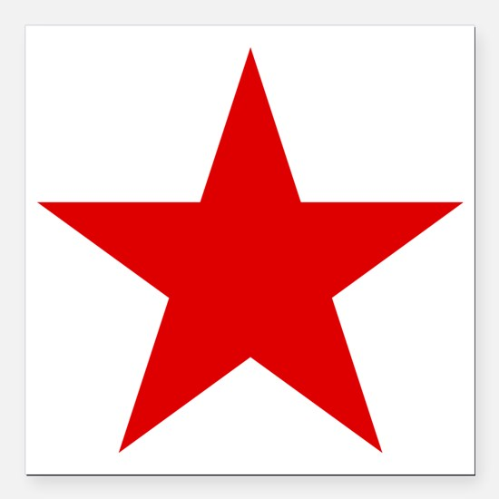 "Red Star Square Car Magnet 3"" x 3"""