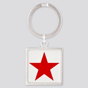 Red Star Square Keychain
