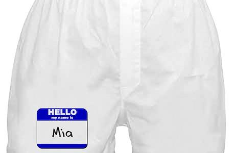 Hello My Name Is Mia Boxer Shorts