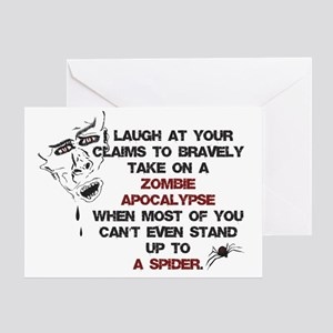 Zombie apocalypse greeting cards cafepress zombies vs spiders greeting card m4hsunfo