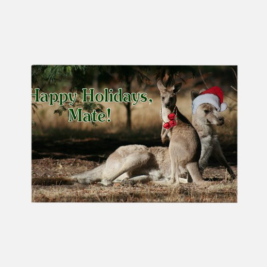 Aussie Happy Holidays Mate Kangar Rectangle Magnet