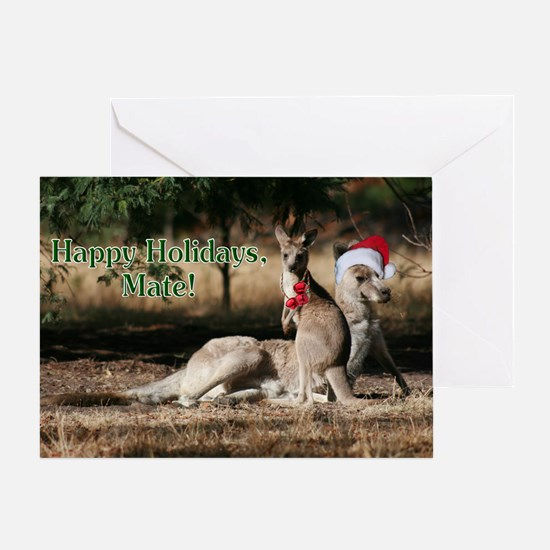 Aussie Happy Holidays Mate Kangaroos Greeting Card
