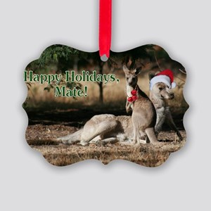 Aussie Happy Holidays Mate Kangar Picture Ornament