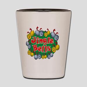 Christmas Cartoon Jingle Bells Text Des Shot Glass