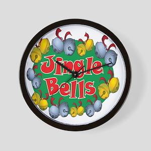 Christmas Cartoon Jingle Bells Text Des Wall Clock