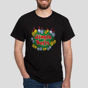 Christmas Cartoon Jingle Bells Text D Dark T-Shirt
