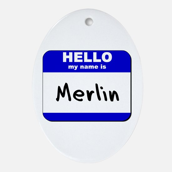 hello my name is merlin  Oval Ornament