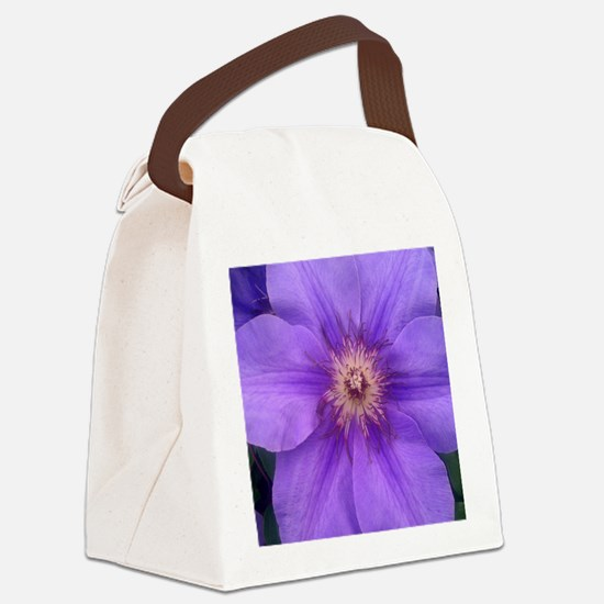 Purple Clematis Canvas Lunch Bag