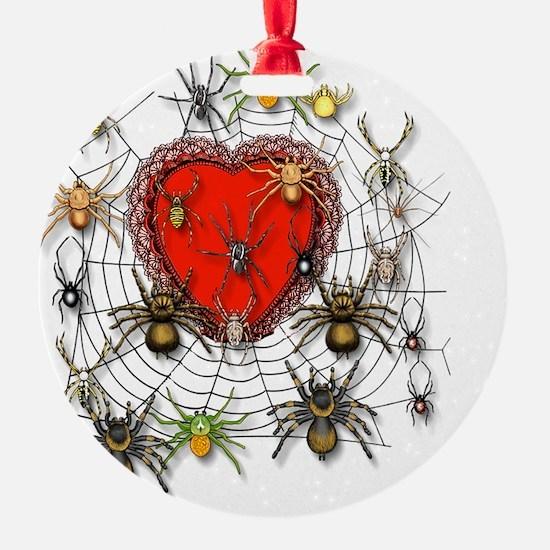 Spider Heart Caught In Web Ornament