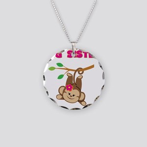 Swinging Monkey Big Sister Necklace Circle Charm