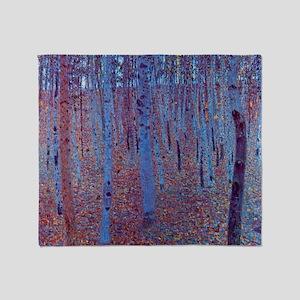 Beech Forest by Gustav Klimt, Vintag Throw Blanket