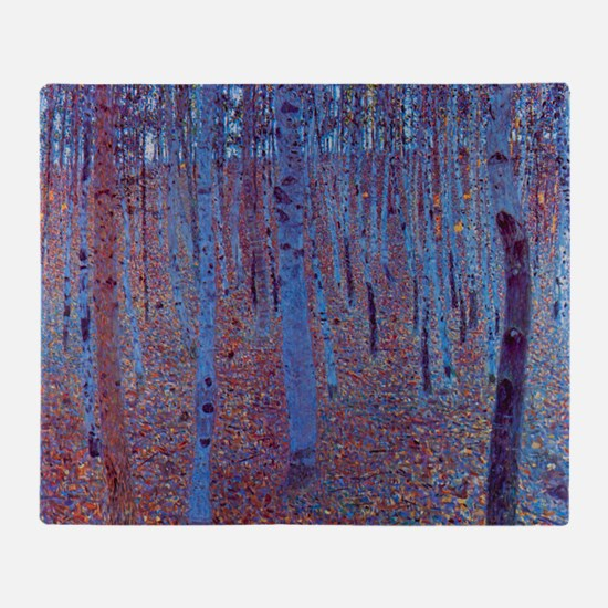 Beech Forest by Gustav Klimt, Vintag Throw Blanket