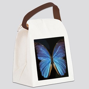 Elegant Blue Butterfly Canvas Lunch Bag