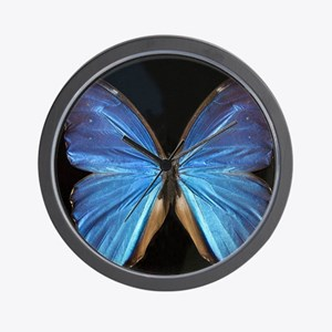 Elegant Blue Butterfly Wall Clock