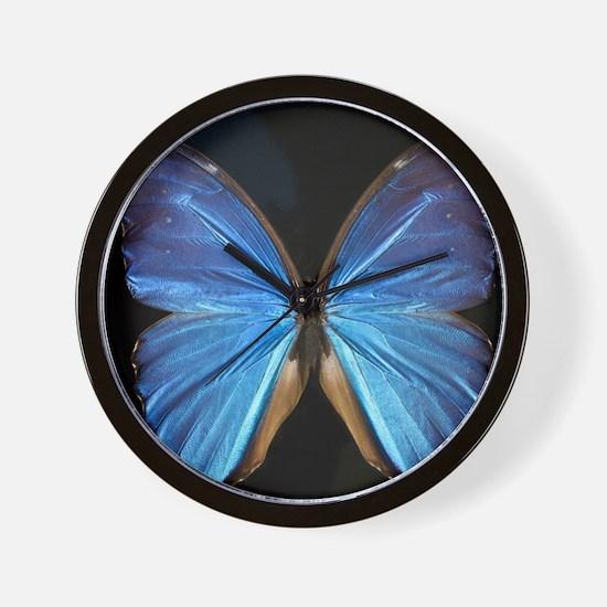 Elegant Blue Butterfly Wall Clock