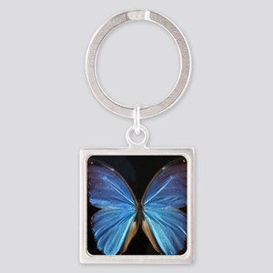Elegant Blue Butterfly Square Keychain