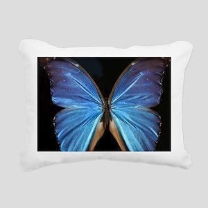 Elegant Blue Butterfly Rectangular Canvas Pillow