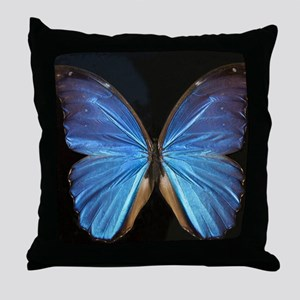 Elegant Blue Butterfly Throw Pillow