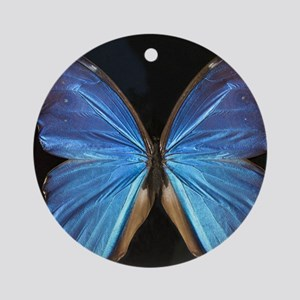 Elegant Blue Butterfly Round Ornament