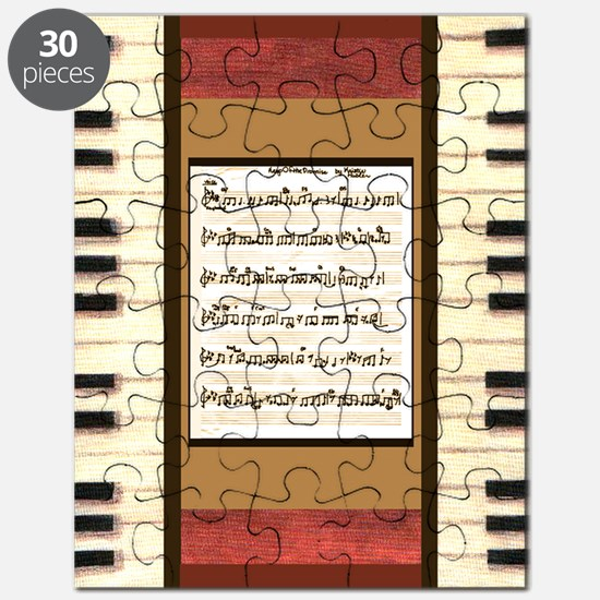 Piano keys sheet music gold Puzzle