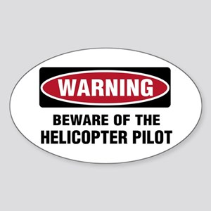 Warning Heli Pilot Oval Sticker