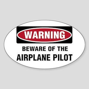 Warning Airplane Pilot Oval Sticker