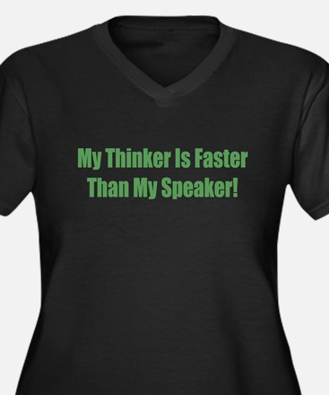 My Think Is Women's Plus Size V-Neck Dark T-Shirt