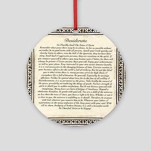 Olde Goth Design Desiderata Poem Round Ornament