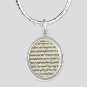 Olde Goth Design Desiderata P Silver Oval Necklace