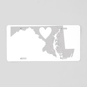 Heart Maryland state silhou Aluminum License Plate