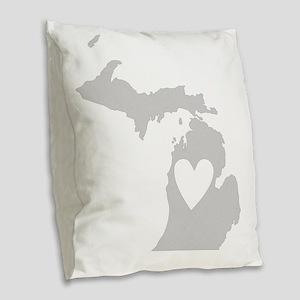 Heart Michigan state silhouett Burlap Throw Pillow