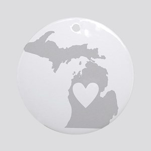 Heart Michigan state silhouette Round Ornament