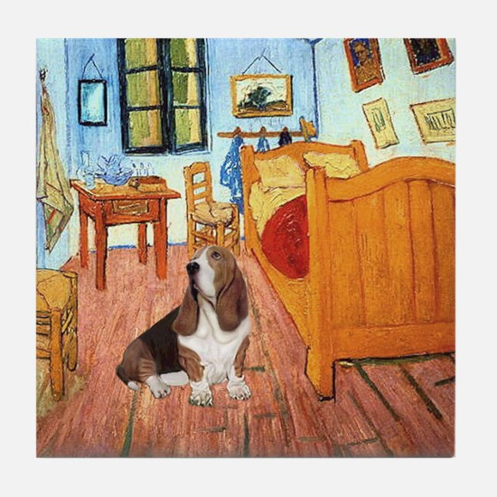 Van Gogh's Room & Basset Tile Coaster