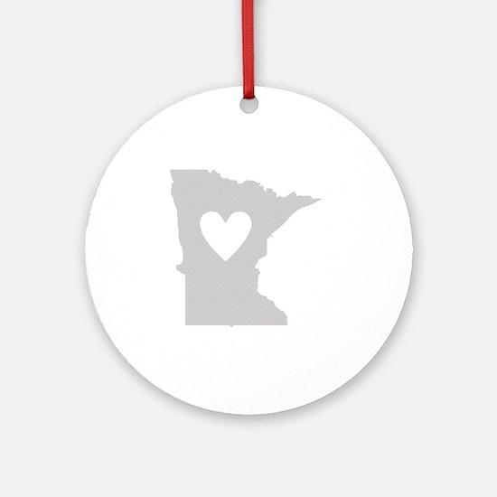 Heart Minnesota state silhouette Round Ornament