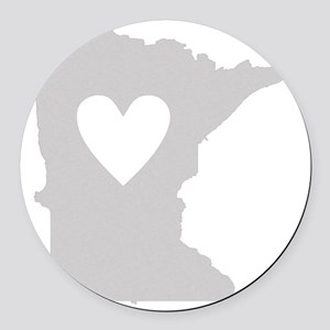 Heart Minnesota state silhouette Round Car Magnet