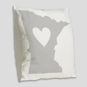 Heart Minnesota state silhouet Burlap Throw Pillow