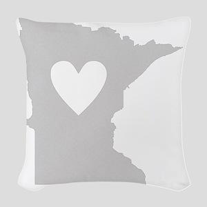 Heart Minnesota state silhouet Woven Throw Pillow
