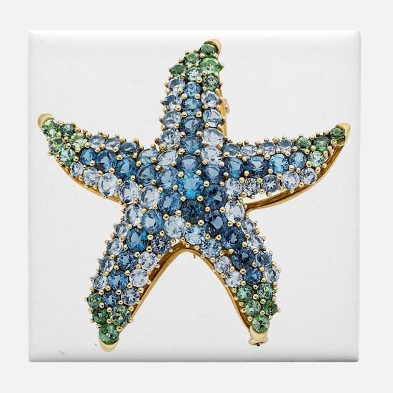 Starfish Vintage Rhinestone Costume J Tile Coaster