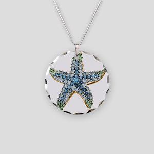 Starfish Vintage Rhinestone  Necklace Circle Charm