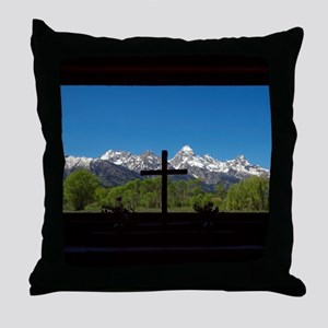 Chapel View of the Grand Tetons Throw Pillow