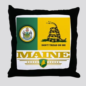 Maine Gadsden Flag Throw Pillow